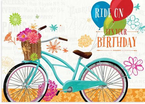 Floral rd day. Bike clipart birthday