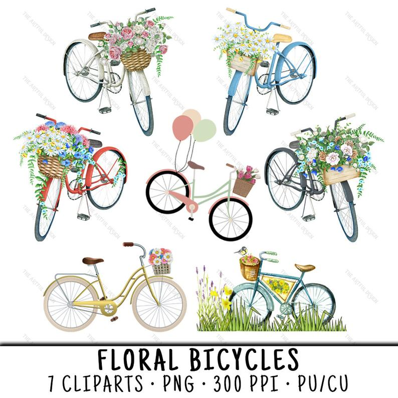 Bicycle floral clip art. Bike clipart bycicle