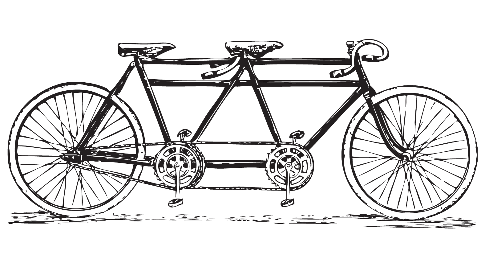 White clipart bike. Free vintage tandem bicycle