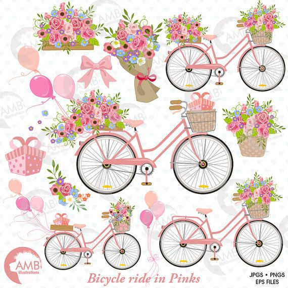 Wedding bicycle and flowers. Bike clipart clip art