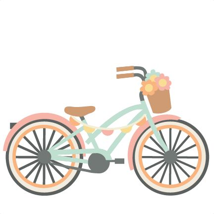 Pencil and in color. Bike clipart cute