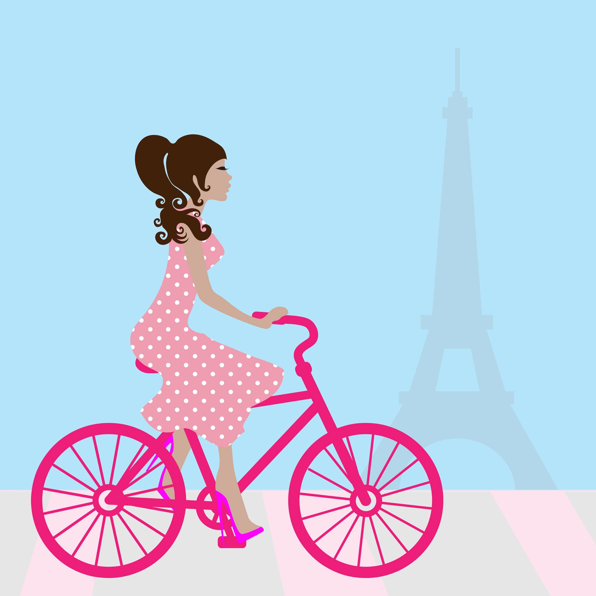 Bike clipart cycling. Girl in paris free