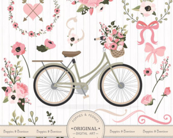 Premium wedding vectors mint. Bike clipart floral
