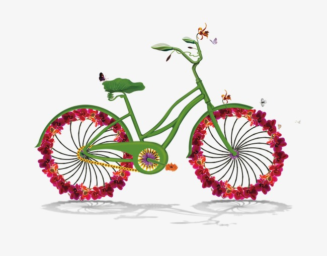 Flowers bicycle spring poster. Bike clipart floral