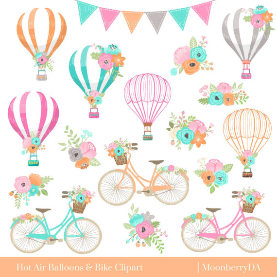 Hot air balloons bicycle. Bike clipart floral