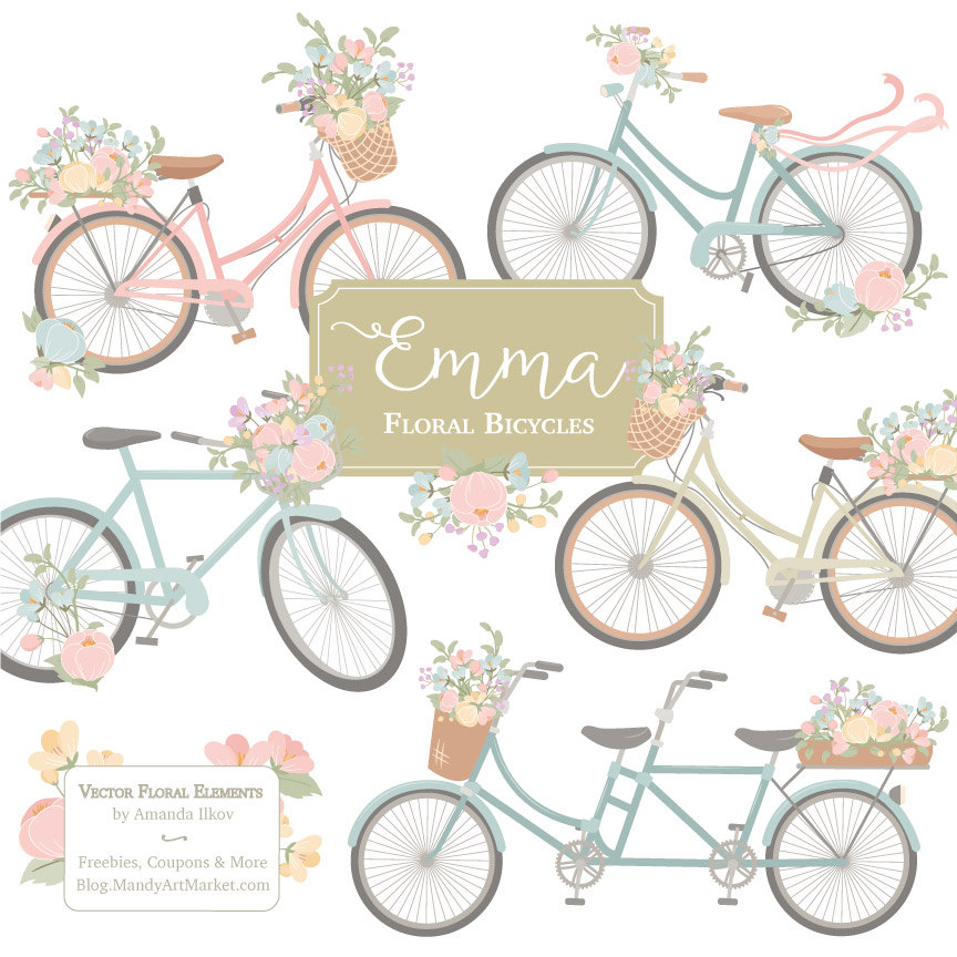 Bike clipart floral. Emma bicycle vectors in
