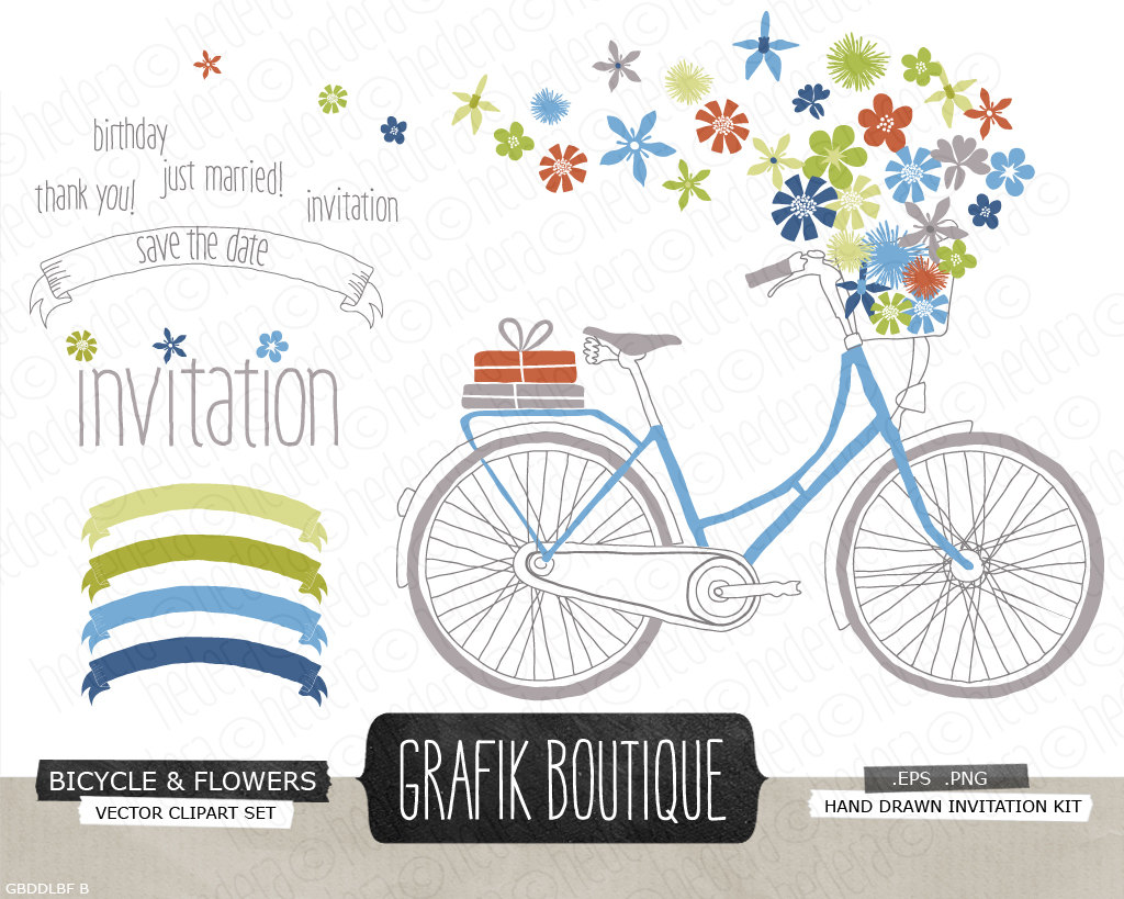 Bike clipart flower. Bicycle basket with wild