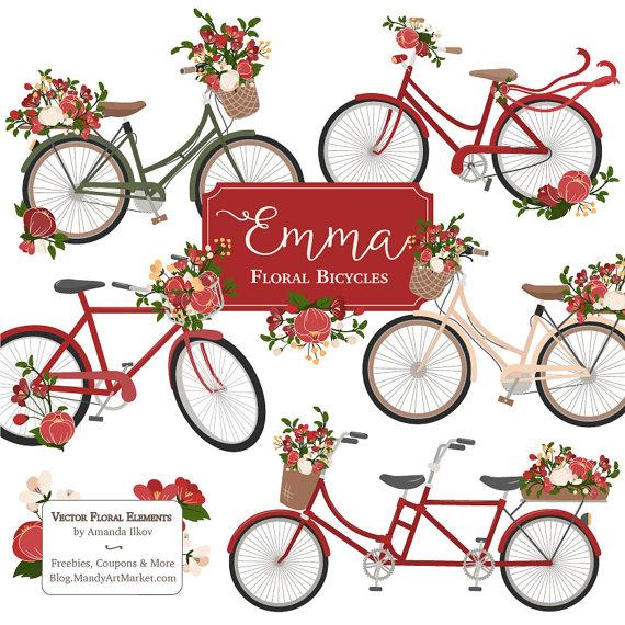 Emma floral bicycle vectors. Bike clipart flower