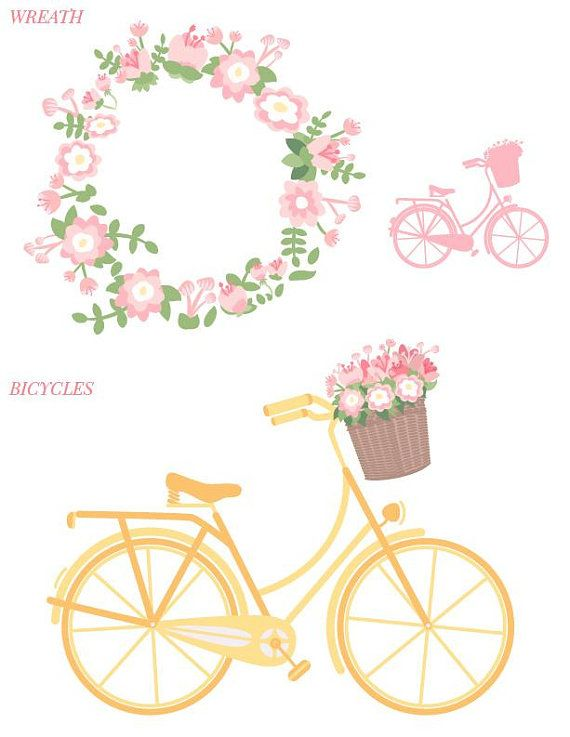 Bike clipart flower. Spring bicycle set with