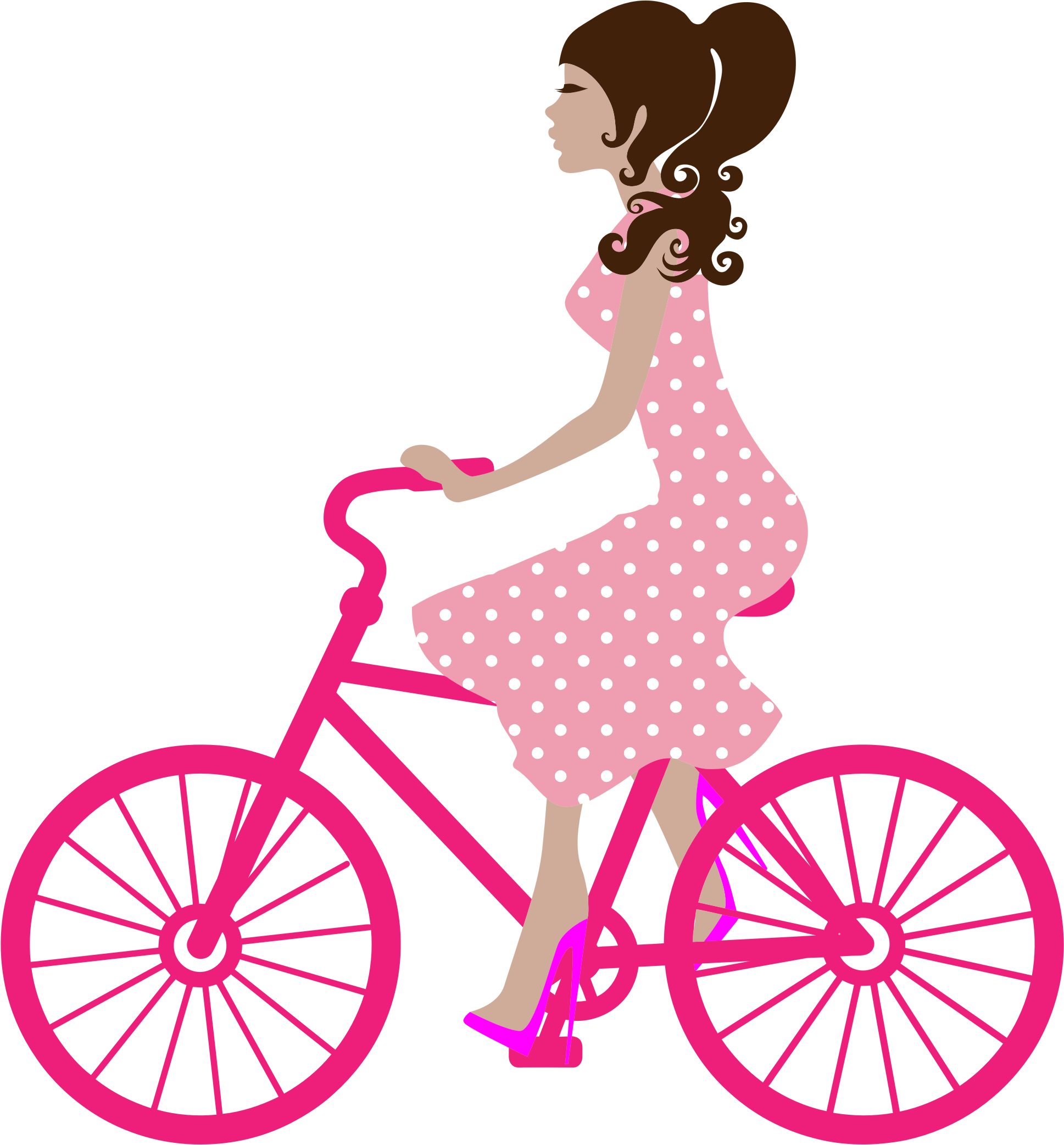 Girl on bike icons. Cycle clipart cute