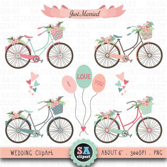 Wedding clip art pack. Bike clipart rustic
