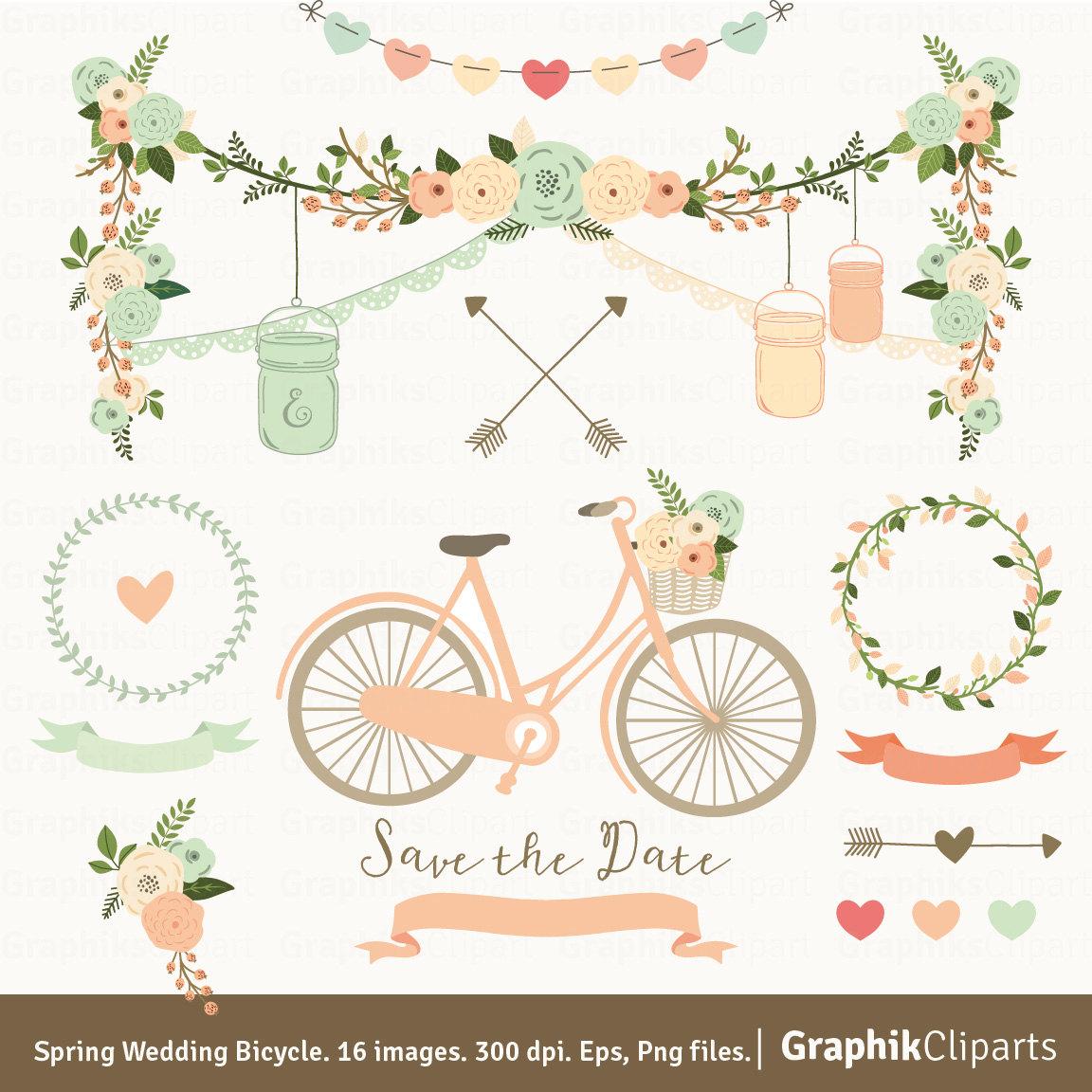 Bike clipart rustic. Spring wedding bicycle floral