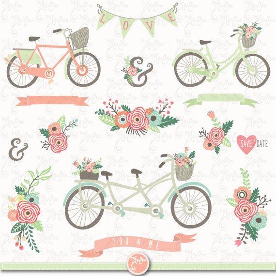 Wedding floral clip art. Bike clipart rustic