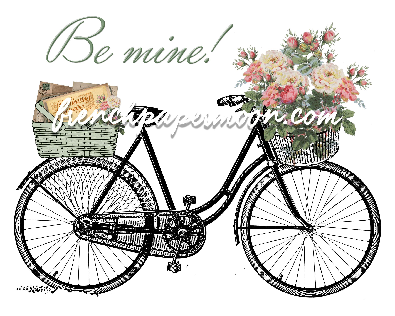Digital valentine vintage flowers. Bike clipart shabby chic
