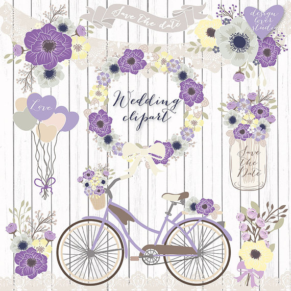 Bike clipart shabby chic. Premium vector rustic wedding