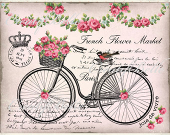 Etsy french flower market. Clipart bike shabby chic