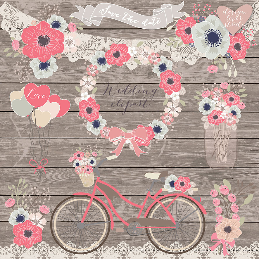 Vector rustic wedding bicycle. Bike clipart shabby chic