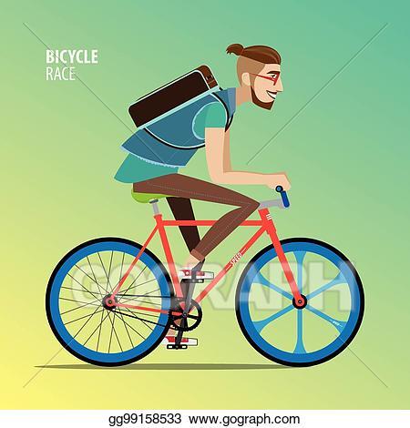 Clipart bike side view. Eps illustration man on