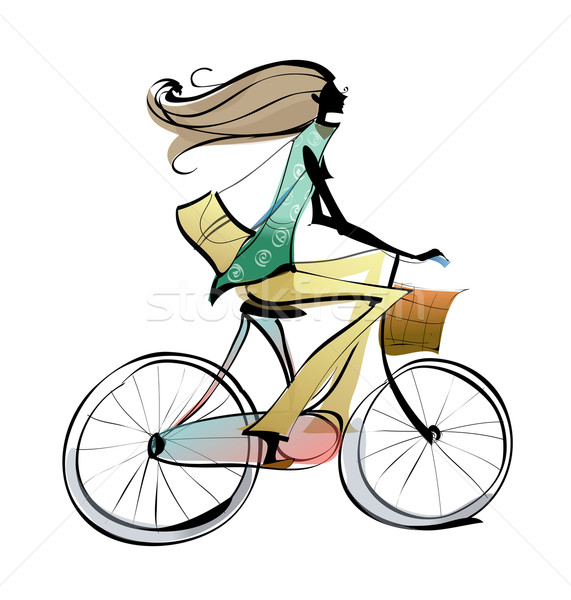 Of woman riding bicycle. Bike clipart side view