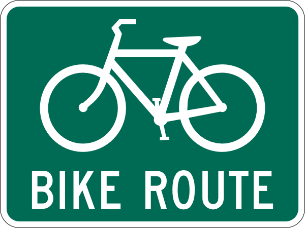 Bike clipart sign. Bicycle route clip art