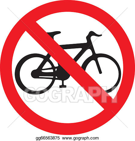 Bike clipart sign. Vector art no bicycle