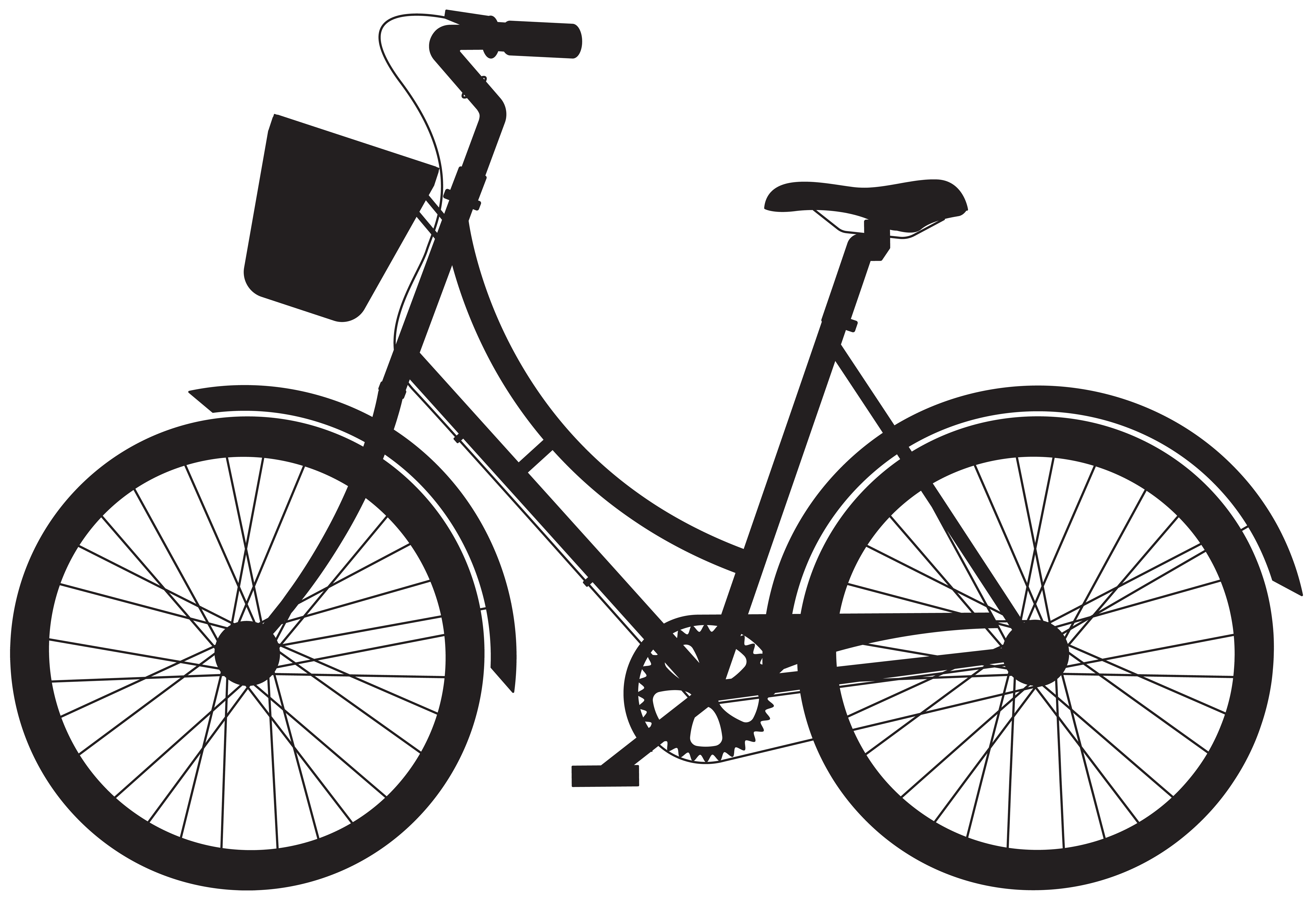 Bicycle with basket png. Bike clipart silhouette