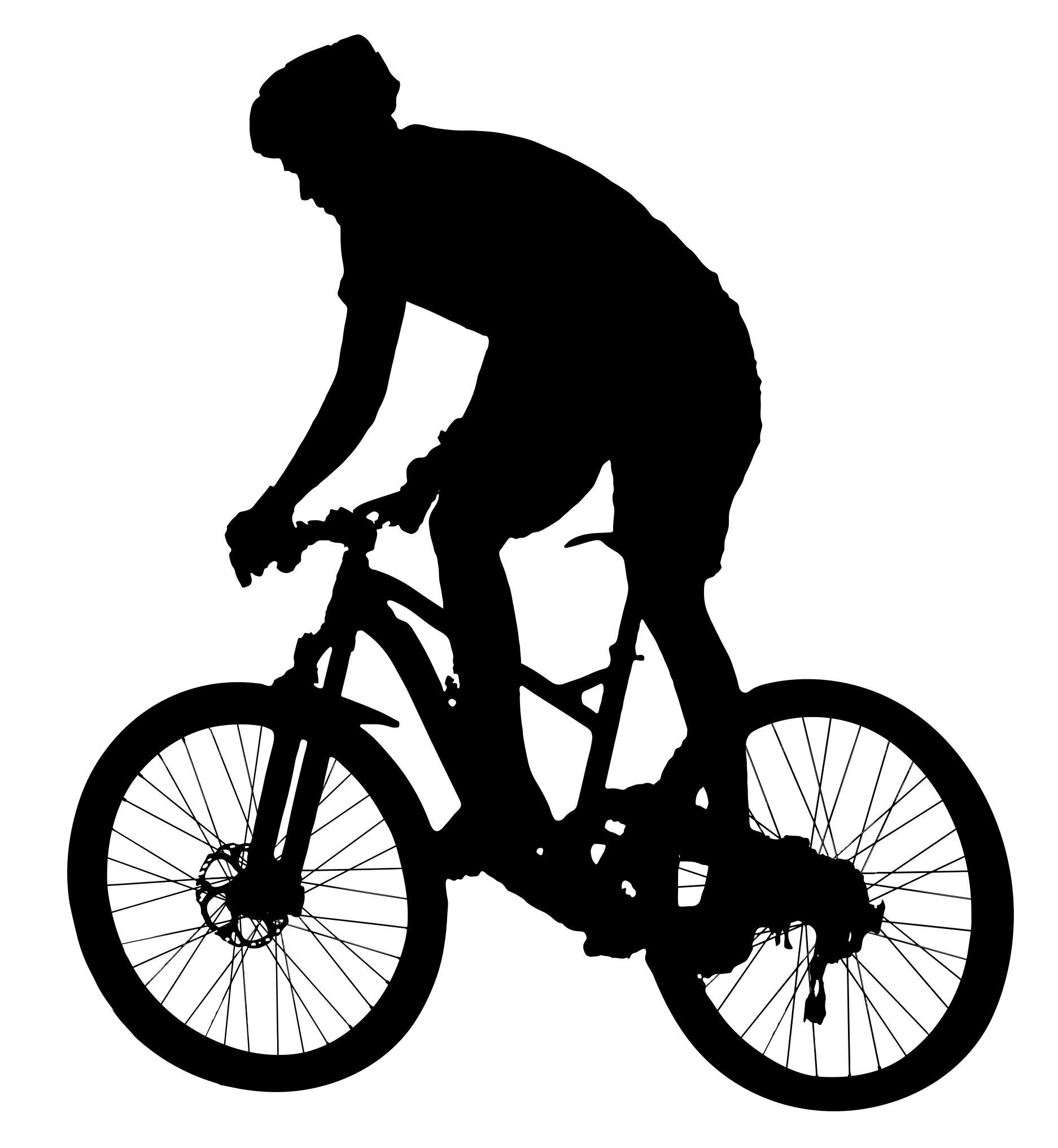 Biking clipart silhouette. Man racing on bike