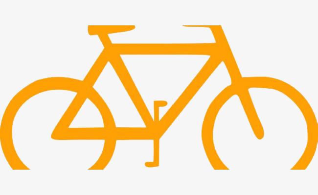 Bicycle stroke orange png. Bike clipart simple