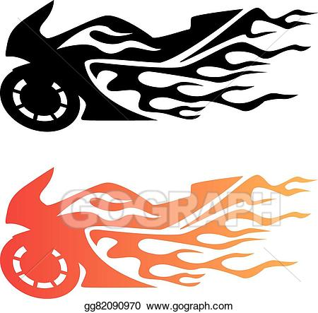 Biking clipart logo. Vector flaming sport bike