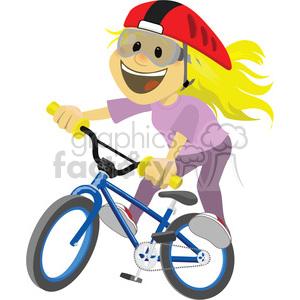 Royalty free girl riding. Biking clipart illustration