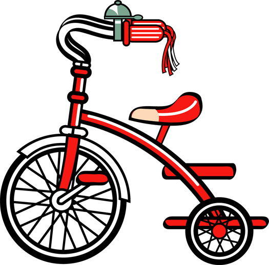 Tricycle clip art scrapbook. Bike clipart toy