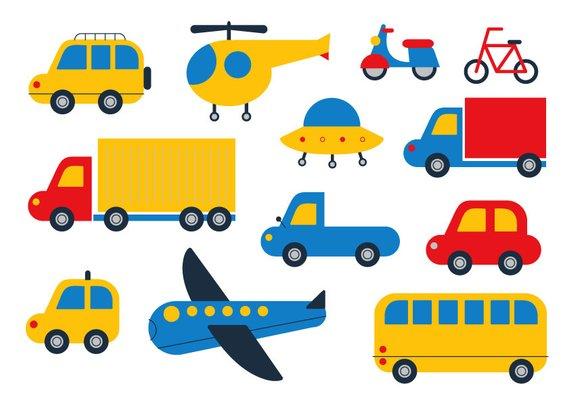 Car cute transport vector. Bike clipart transportation