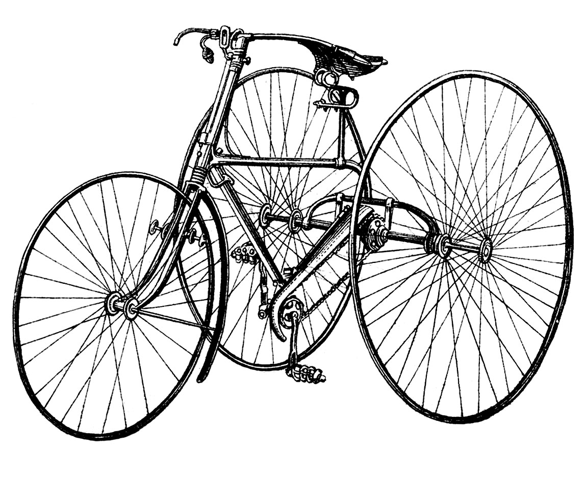 Bike clipart tricycle. Vintage clip art early
