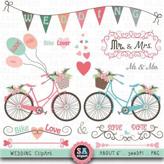 Clip art pack vintage. Bike clipart wedding