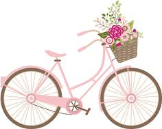 Biking clipart flower. Free romantic bicycle clip