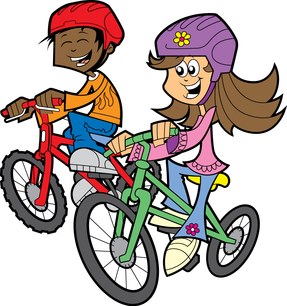 Biking clipart. Kids riding bikes panda