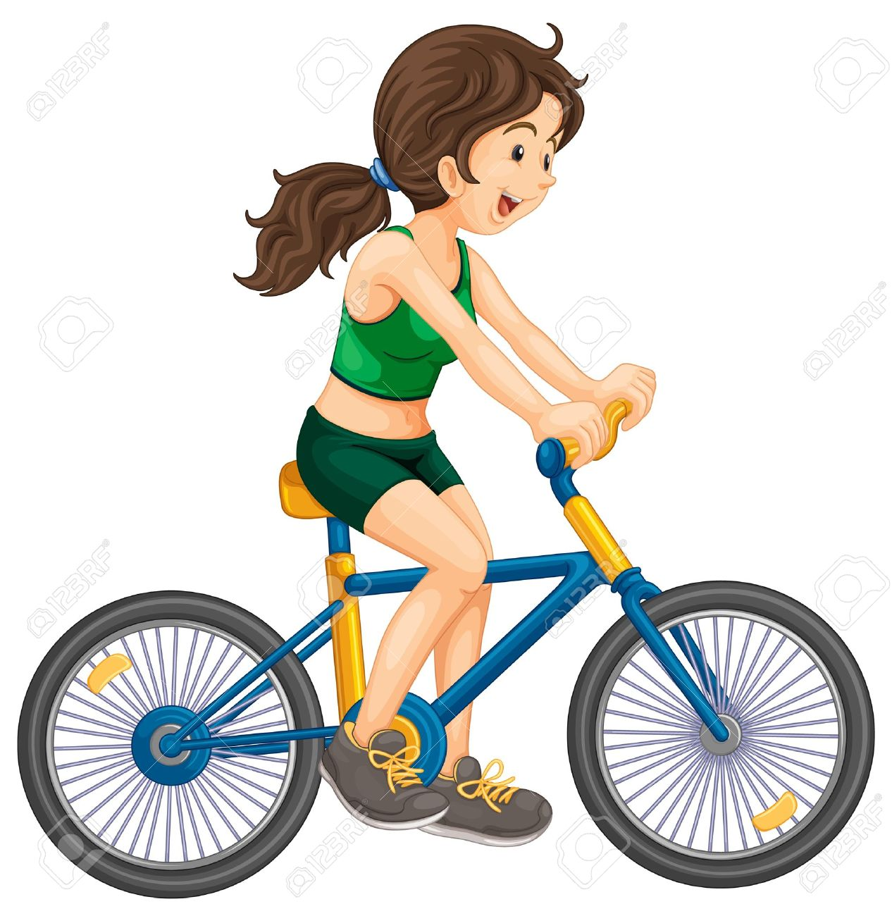 Biking clipart. Female
