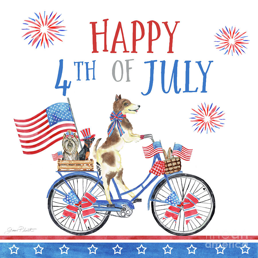 th of dogs. Biking clipart 4th july