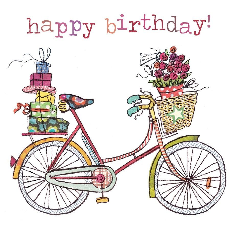 Illustrazione bicycle happy covers. Biking clipart birthday