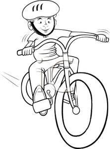 Kids on bikes drawings. Biking clipart black and white