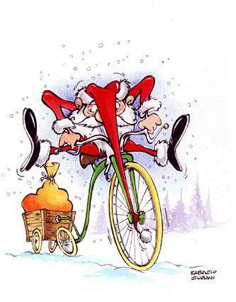 best santa claus. Biking clipart christmas
