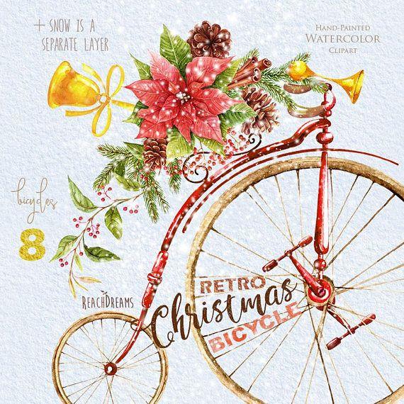 Biking clipart christmas. Watercolor retro bicycle bike