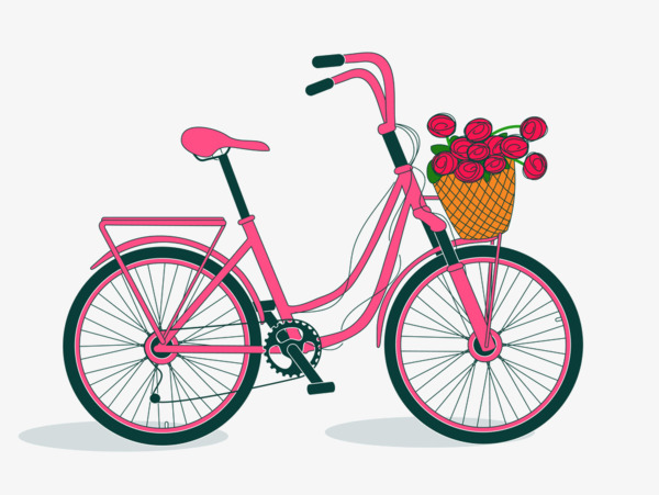 Biking clipart flower. Flowers bike carrier bicycle