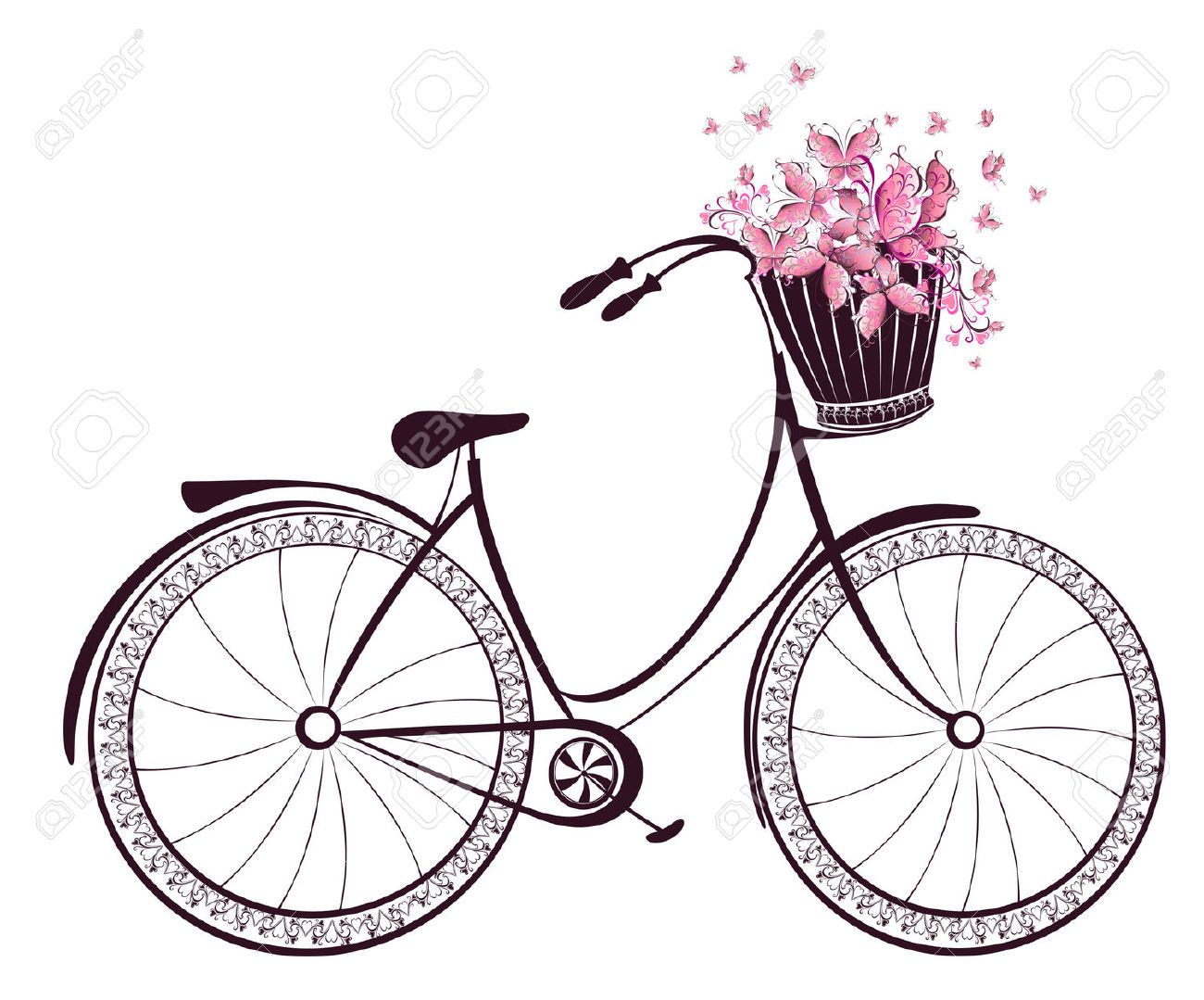 Biking clipart flower. Bicycle with a basket