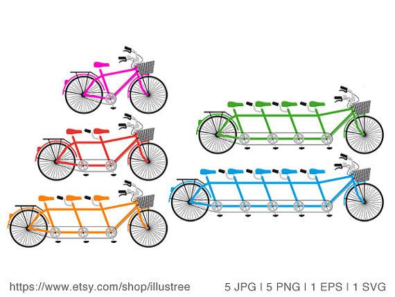 Biking clipart illustration. Tandem bicycle family bike
