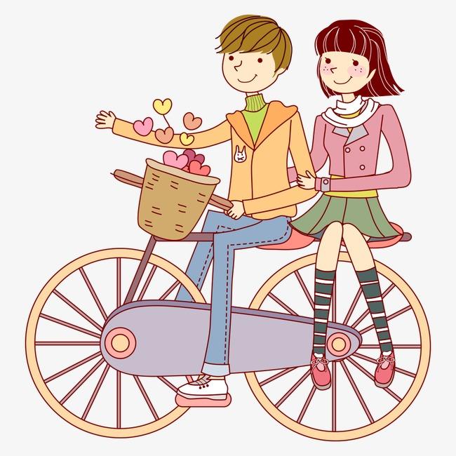 Couple on bike cartoon. Biking clipart illustration