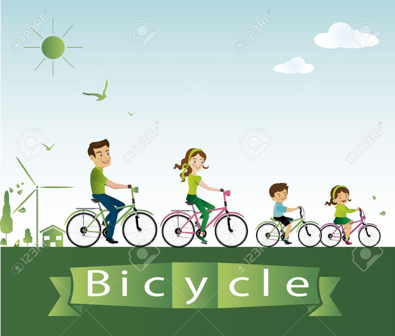 Biking clipart illustration. Bike family cycling pencil