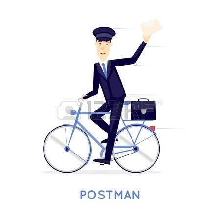 Biking clipart illustration. Postman bike clipground commuter