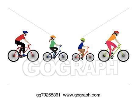 Vector stock father mother. Biking clipart illustration