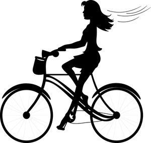 Girl image silhouette of. Biking clipart logo